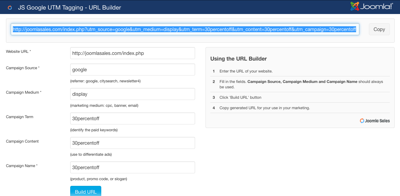 Using the URL Builder